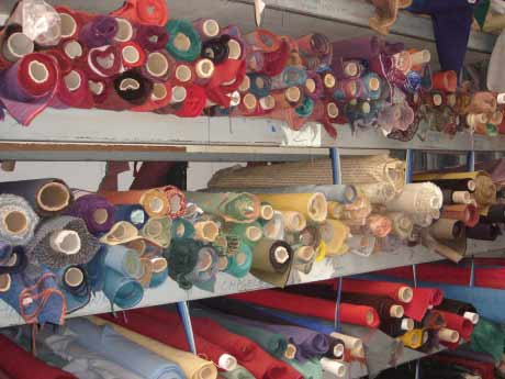 Large selection of fabrics